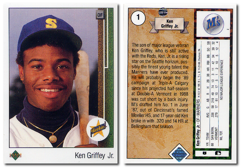 We sell the 1989 Upper Deck #1 Ken Griffey Jr. Rookie Card.