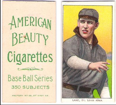 1909-11 T206 American Beauty No Frame Back Baseball Cards