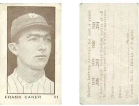 1922 T231 Fans Cigarettes Baseball Cards