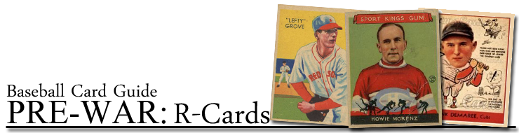 R Cards Pre War Baseball Cards From Deans Cards