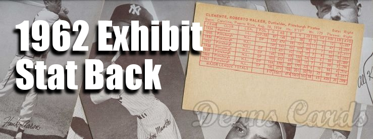 1962 Exhibit Stat Backs Baseball Cards