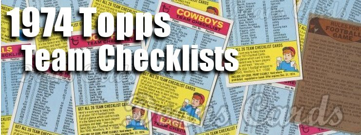 1974 Topps Football Team Checklists