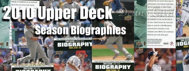 2010 Upper Deck Season Biographies Baseball Cards
