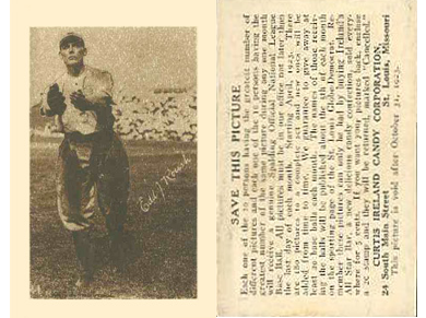 1923 E123 Curtis Ireland Candy Baseball Cards