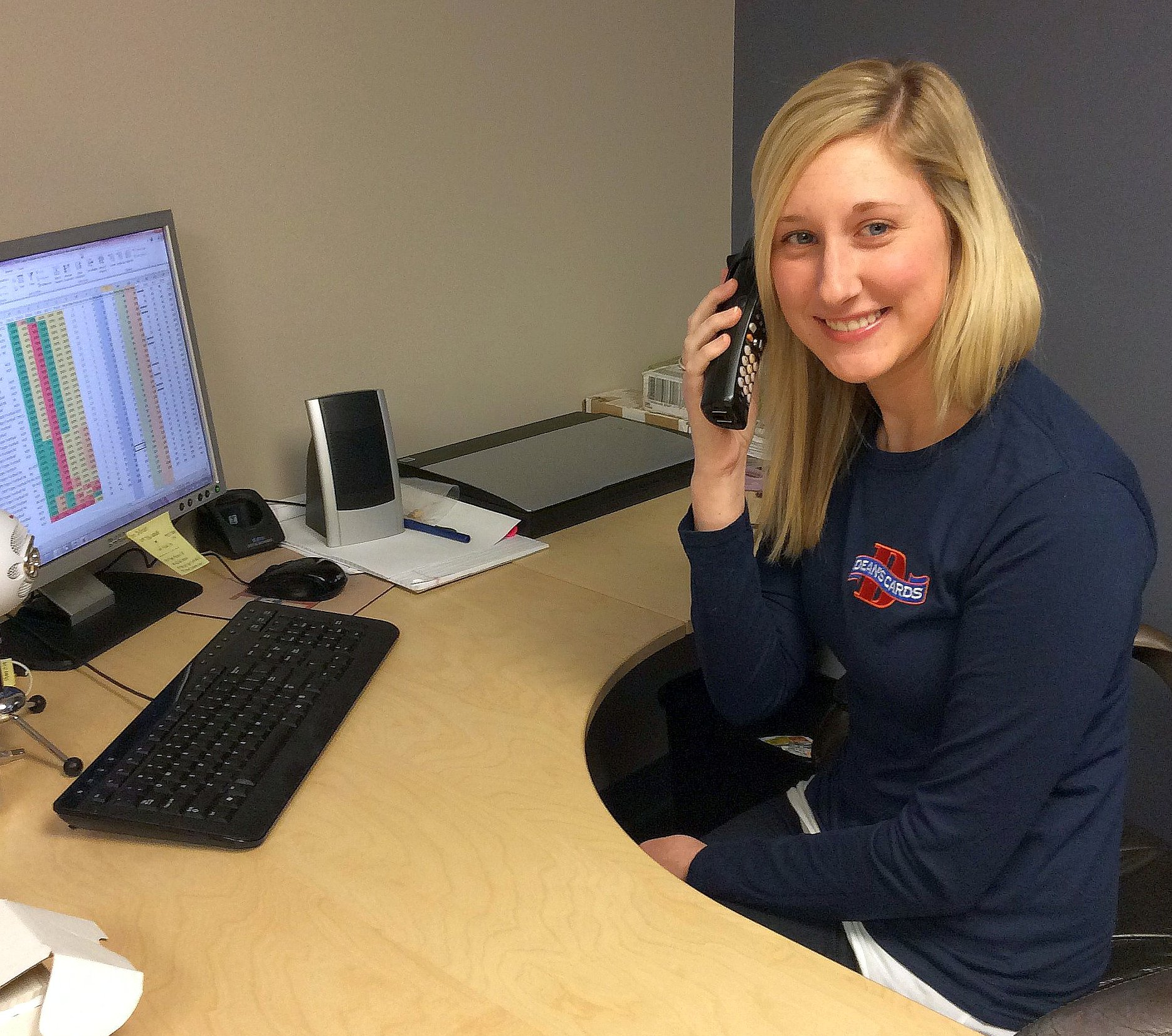 Our Purchasing manager Elana, working a deal on the phones