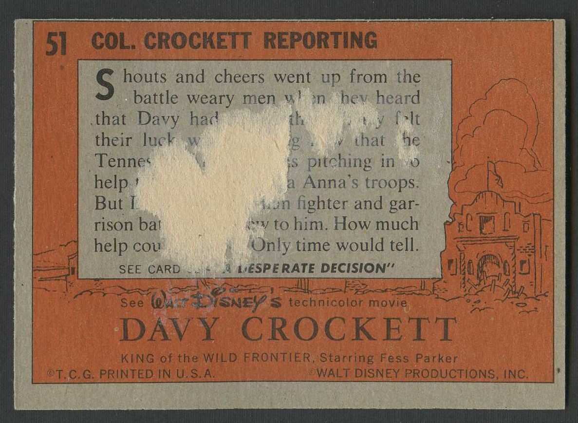1956 Davy Crockett   Topps  Orange Back Complete Set