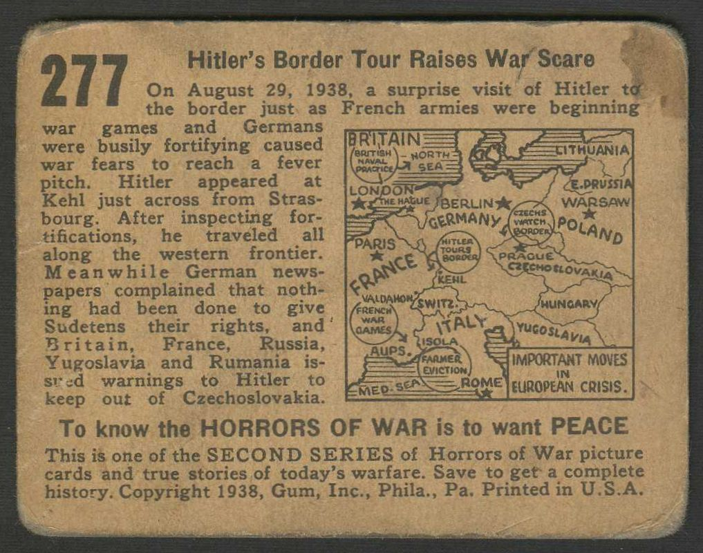 1938 Gum, Inc.    Gum Inc. Horrors of War Near Complete Set (277/288)