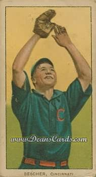 # 39 Bob Bescher Hands in Air - T206 REPRINT