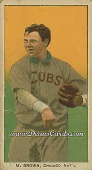 1909 T206 Reprints #58 CUB Mordecai Brown